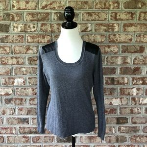 Cyrus Gray Faux Leather Shoulders Sweater Sz M